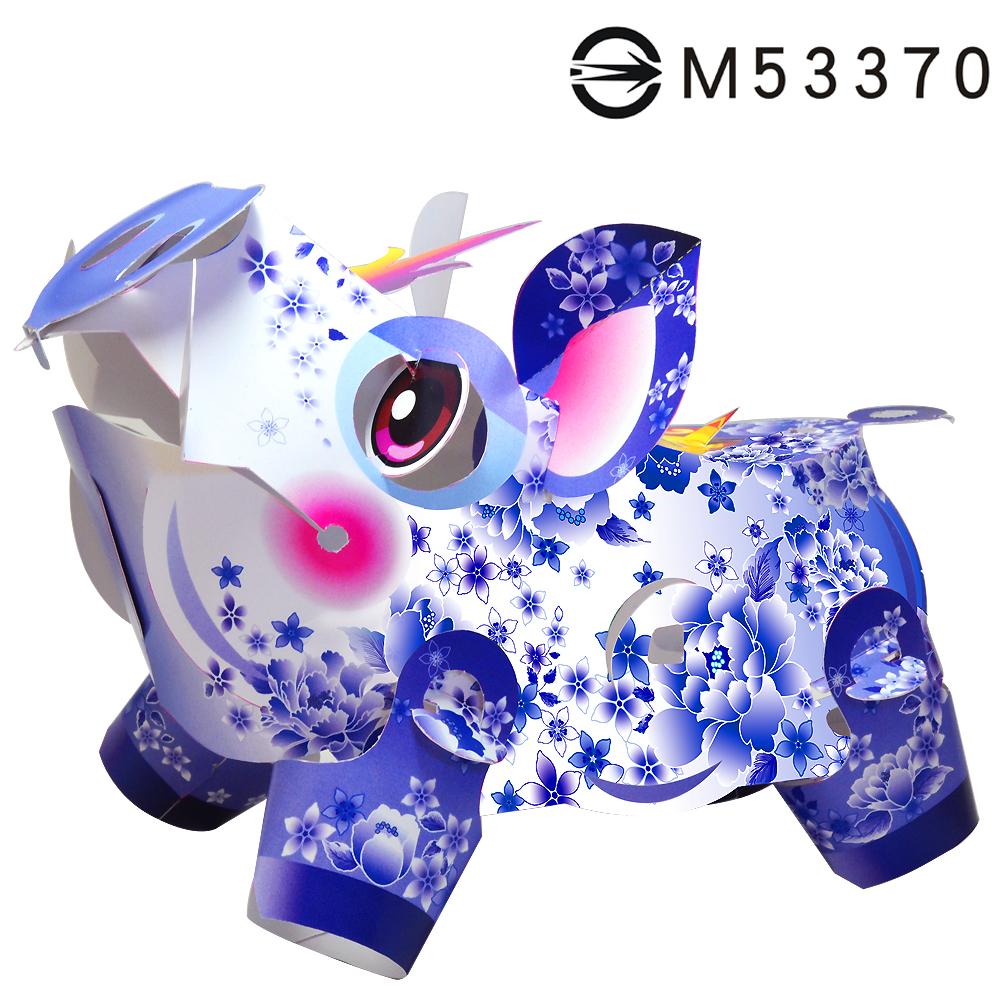 青花瓷發財豬-DIY摺紙燈籠
