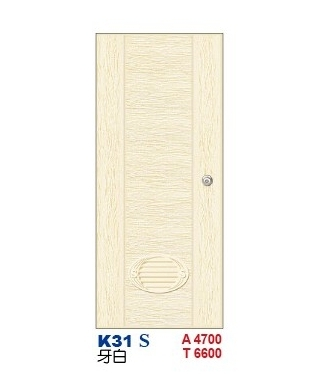 牙白浴廁門  老K塑潮門K31 S