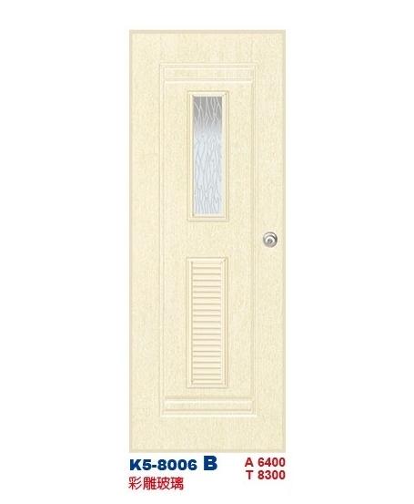 彩雕玻璃浴廁門-塑鋼門K5-8006 B
