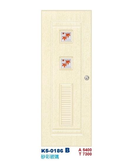 砂彩玻璃浴廁門-塑鋼門K5-0186 B