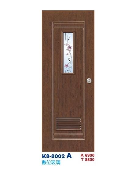 數位玻璃浴廁門-塑鋼門K8-8002 A