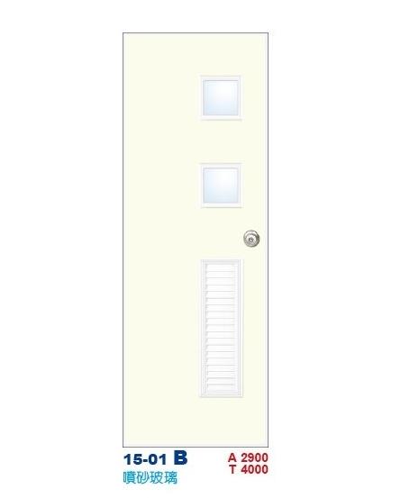 噴砂玻璃浴廁門  彩繪飾條塑鋼門15-01 B