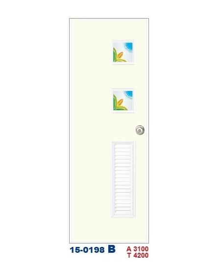 浴廁門  彩繪飾條塑鋼門15-0198 B
