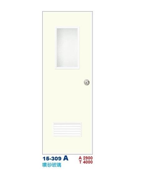 噴砂玻璃浴廁門  彩繪飾條塑鋼門15-309 A