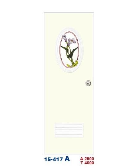 浴廁門  彩繪飾條塑鋼門15-417 A