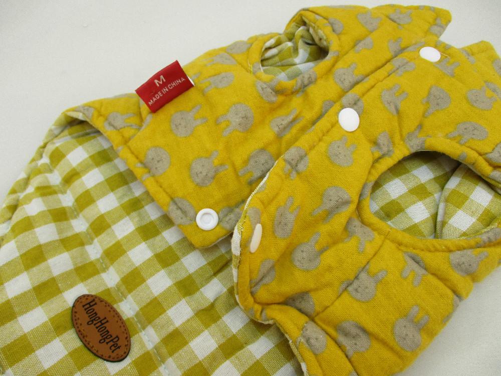 寵物衣-芥末黃小兔格子背心