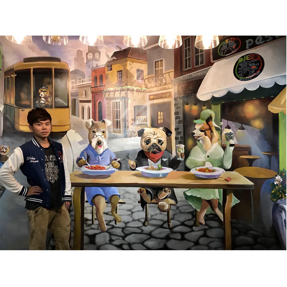 台北南陽街義式餐廳3D彩繪