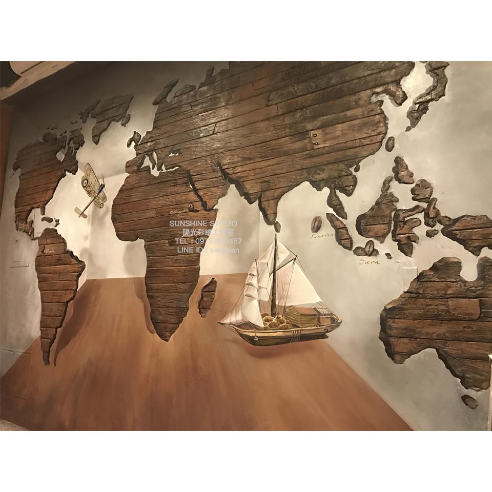 烏日咖啡廳主題牆立體