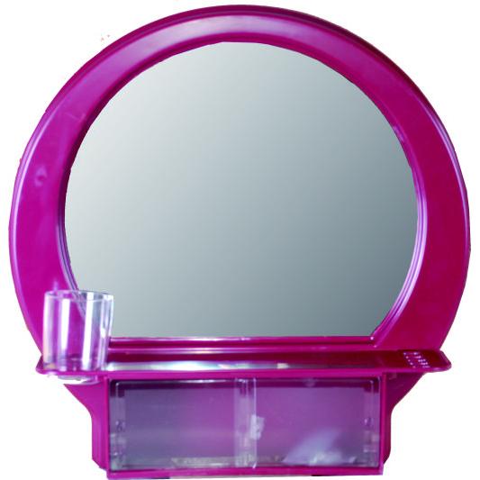 半圓化粧鏡(棗紅)