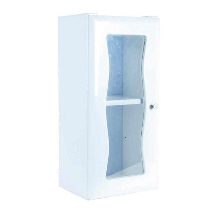 單門玻璃浴櫃(粉牙)